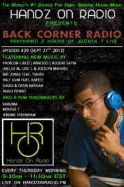 BACK CORNER RADIO [EPISODE #29] #ThrowBackThursday [SEPT 27. 2012]